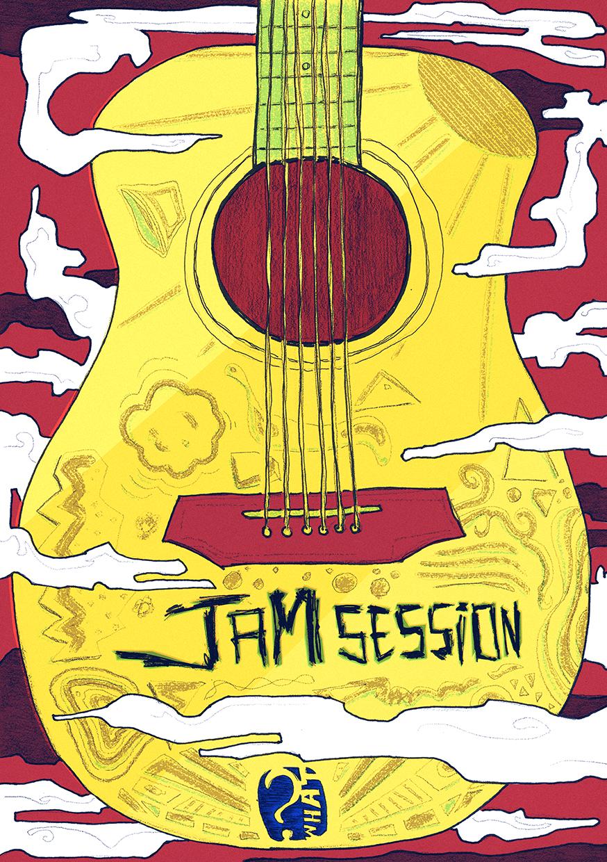Illustration pour une Jam Session au Café Le What à Tamines (Belgique)